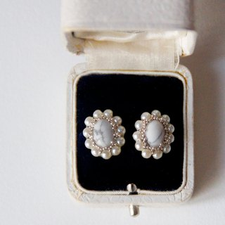 14 kgf Haworth and vintage pearl oval earrings / brass earrings