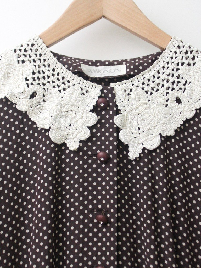 【RE0809D1364】 Summer-made retro white lace big turn rounded little purple red long-sleeved ancient dress