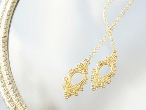 【14KGF/Siver925】Ear Thread Earrings -Elegant Filigree-