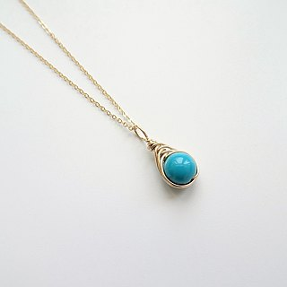 ::Mediterranean Eyes:: Turquoise Herringbone Wire Wrapped Charm 14K GF Necklace
