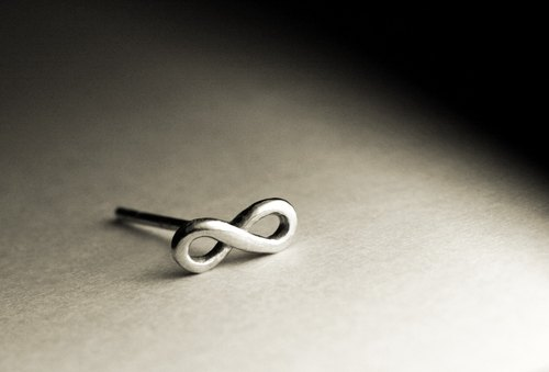 Infinity symbol style sterling silver earrings (single / pair)