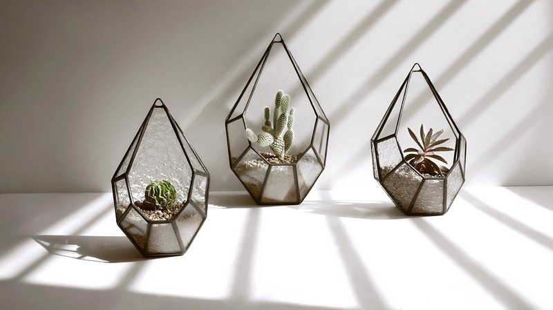 Sunlight small terrace -L flower house Succulents candlestick hanging decorative glass mosaic