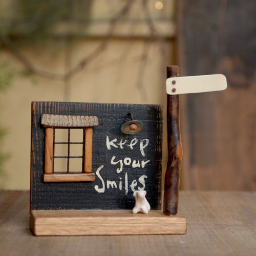 Micro-pocket table scene birthday decorations / antique old wooden wind A-1 (This Tiepai can write your own)