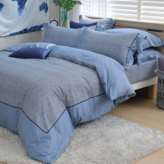 (Increase) Moonlight - Blue hand tie - High quality 60 cotton dual-use bedding package four-piece group [6*6.2 feet]