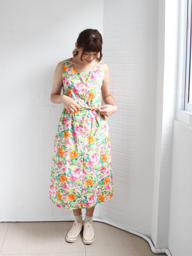 Vintage autumn and winter flowers printed cotton sleeveless vintage dress