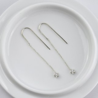 Tiny Star Earrings with CZ Diamond ,Sterling Silver