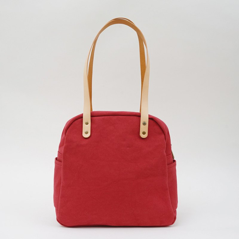 Mushroom MOGU / canvas shoulder bag / watermelon red / Yurt