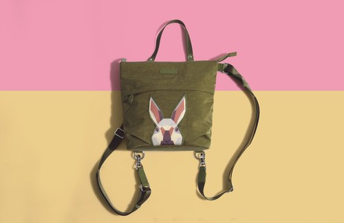 Khieng Atelier after Diamond Diamond Rabbit Rabbit sketch backpack - olive green