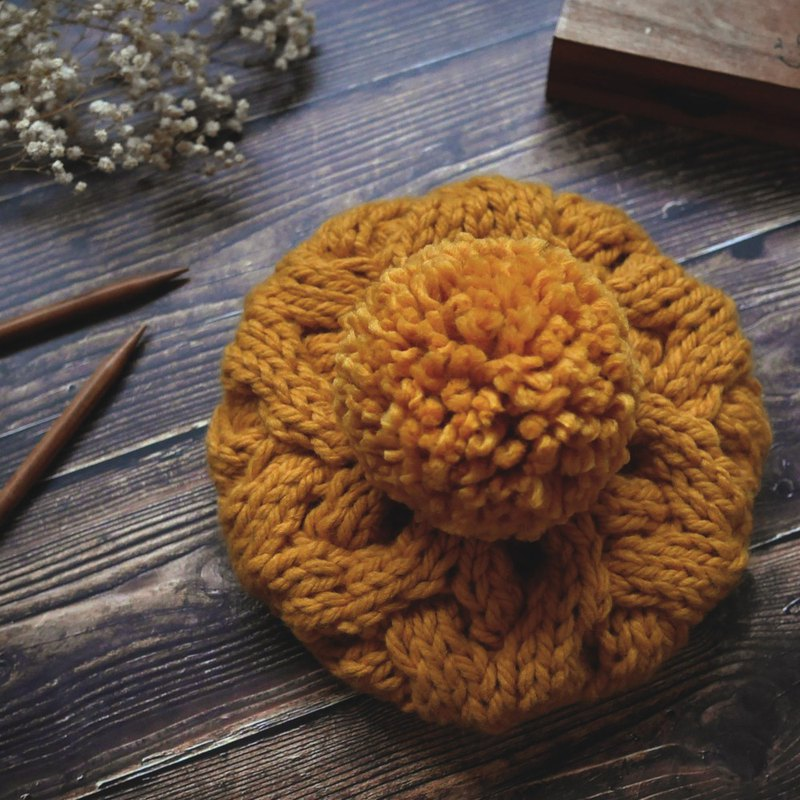 Thick needle twist detachable ball knit wool beret cap - yellow