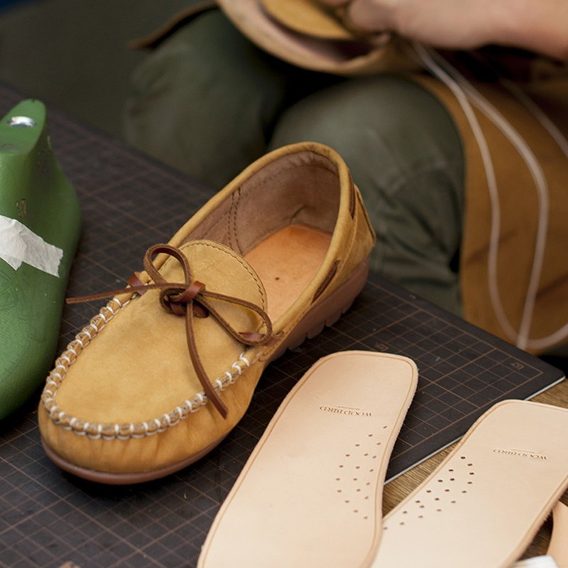 Peas shoes custom women's loafer bows Lok Fu shoes soft bottom shoes vegetable tanned leather spring and summer gifts