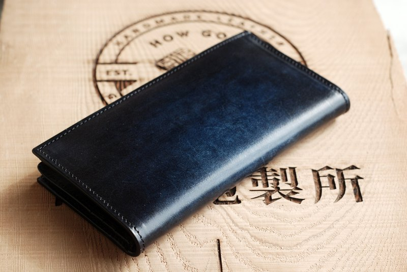 [Promotion] [Blooming Series] [Vegetable Tanned Leather] Iron Grey Blue Leather Long Clip