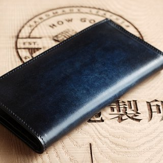 [Father's Day] [smudged series] [planted leather] iron gray blue leather long clip