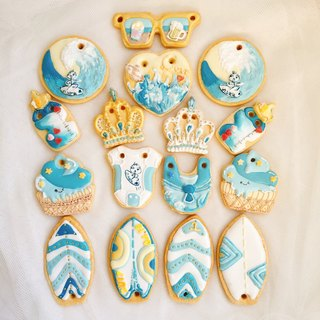 Surfing Prince Receiving Frosting Cookies Group