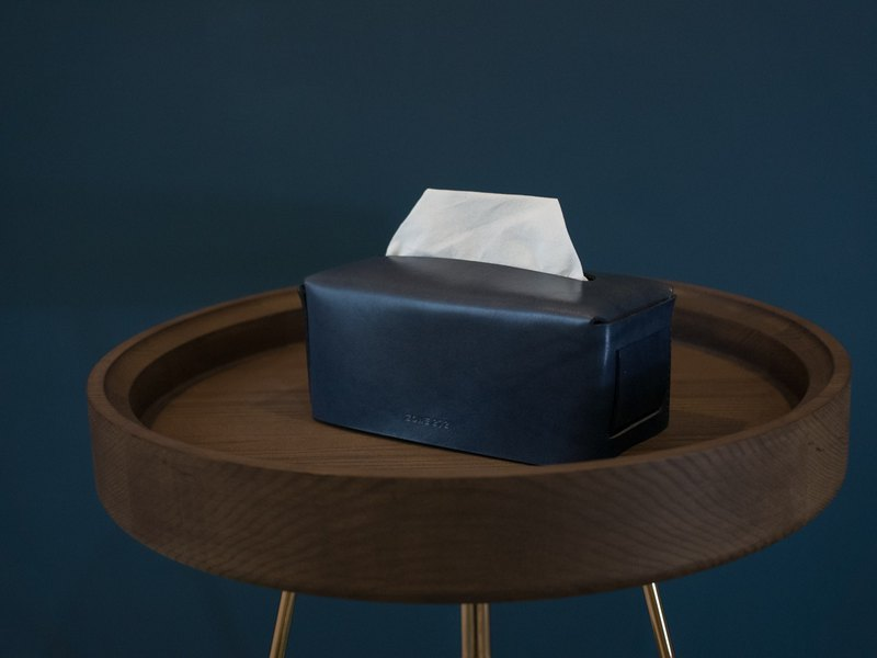 Leather Tissue Box   Navy Blue  Vegetable tanned leather