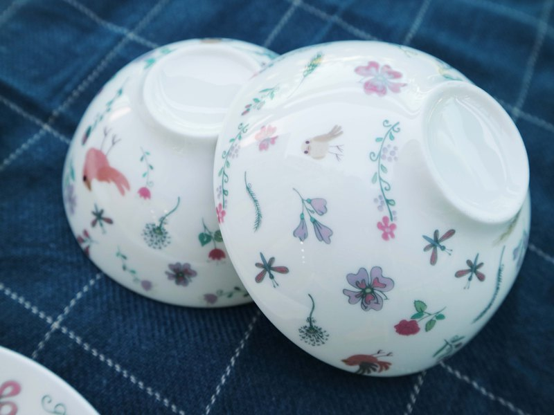 Flower and bird bone china dish set Christmas exchange gift