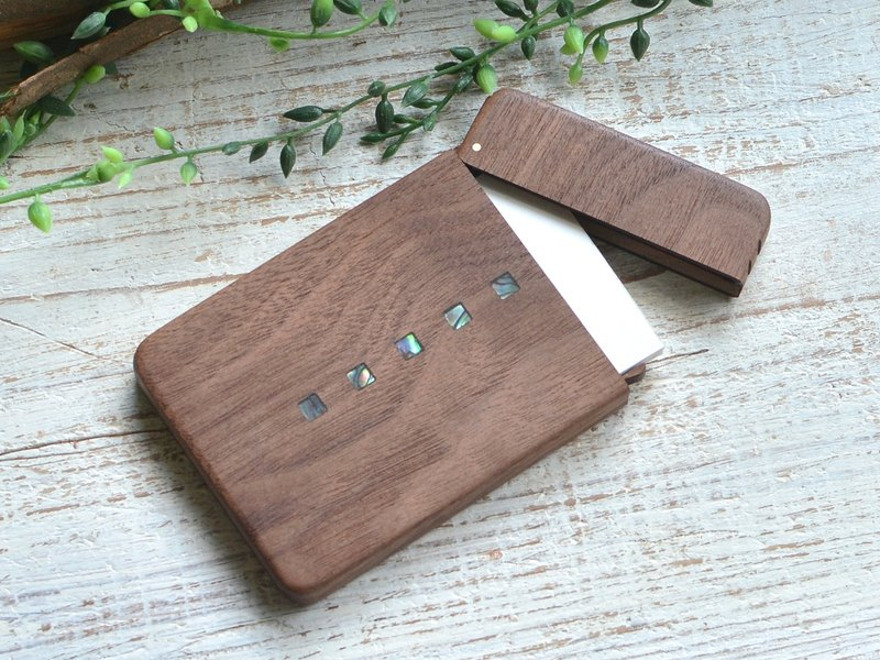 Wooden business card holder /slim/Square design/ walnut