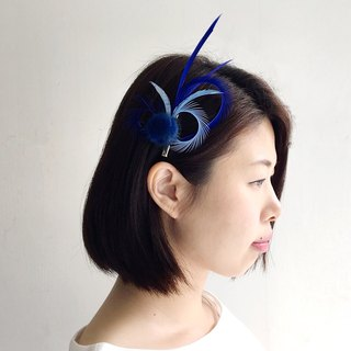 Summer clear sky - blue feather hairpin brooch dual-use