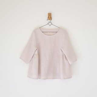 Daily hand-made suit white mushroom color air six-point sleeve umbrella blouse linen