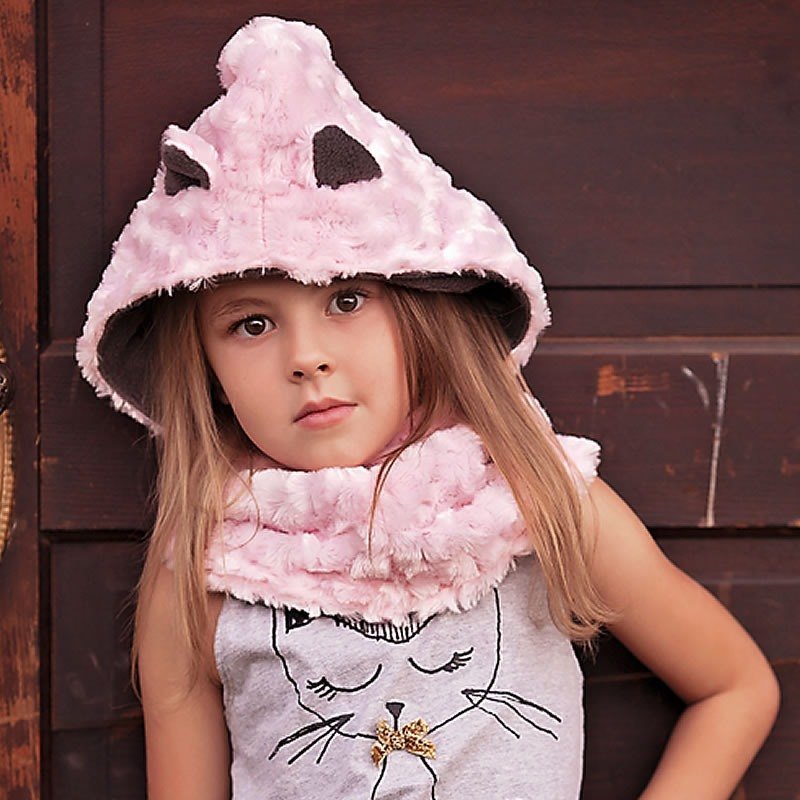 Italy Mondo Rotondo neck + hooded design pink kitten warm hat 2-5 years old