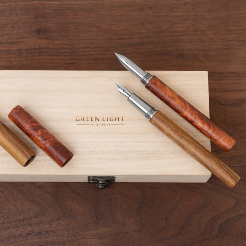 Solid wood end-capped fountain pen/ball pen | Professional style, laser engraving