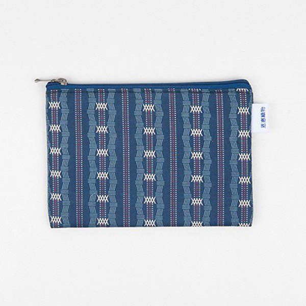 은 혜 직 물 pouch / dark blue simple zipper bag M (18x13cm)