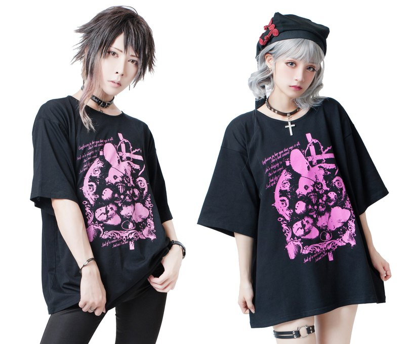 Punk kera kawaii Lunatic cursed rabbit doll oversized unisex tshirt【JJ2235】