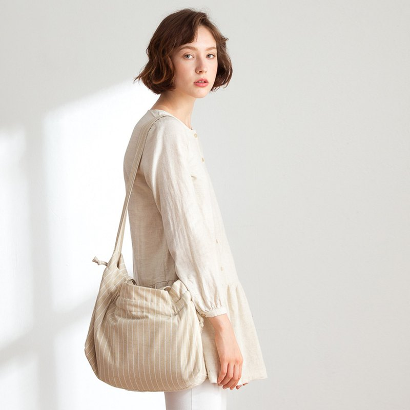 Hanna Linen Side Backpack + Mother Bag [Milk Tea Brown]