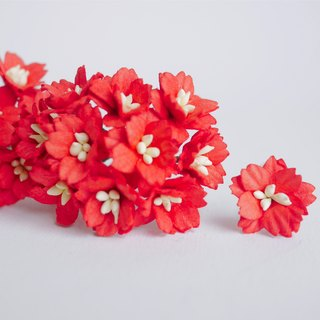 Paper flower, 50 pcs. small cherry blossom supplies, 2 cm. red color.