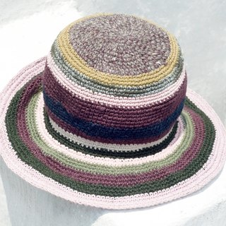 Tanabata gift limited a knitted cotton / hat / hat / fisherman hat / sun hat / straw hat - lavender forest grape rum colorful striped handmade hat