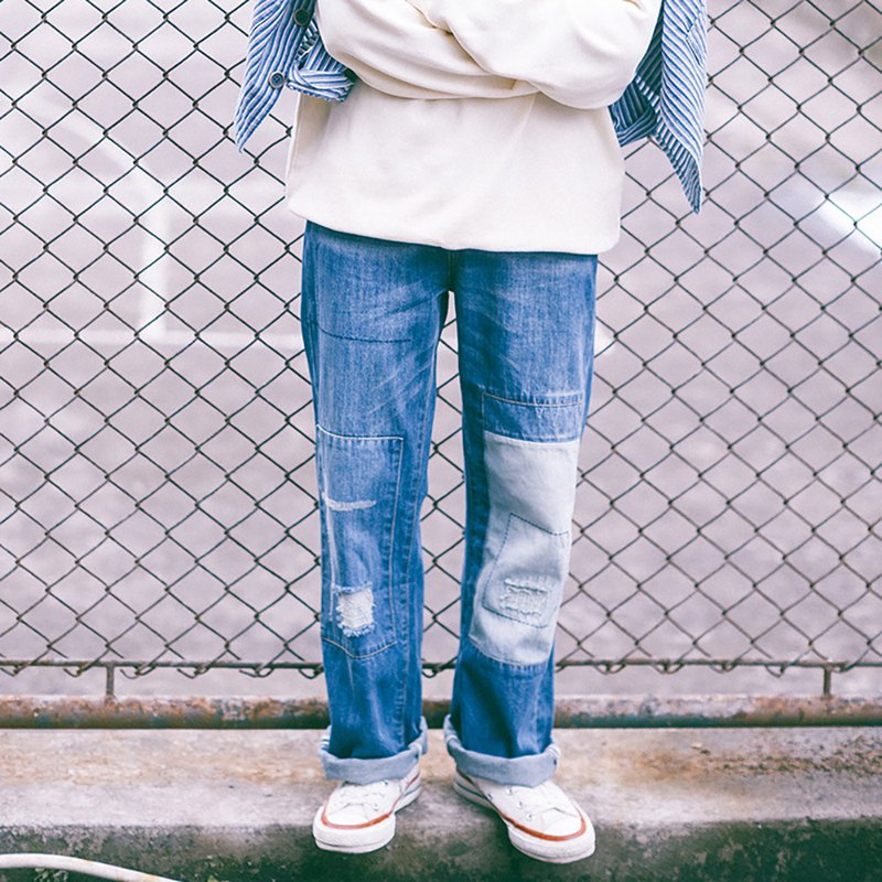 Patch splicing washed blue jeans men and women retro hole grinding white loose straight pants