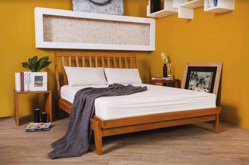 Victor geometric shape teak bed frame - Queen 6 feet