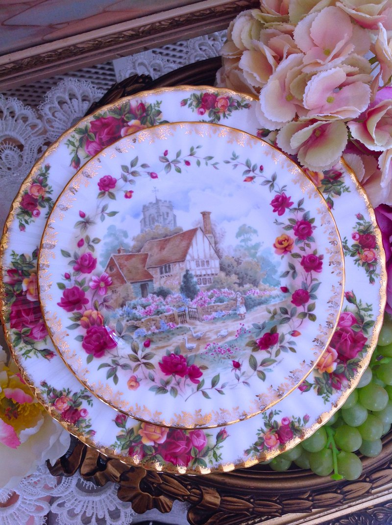 British bone china Royal Alpine 22k gold-plated country rose summer cake plate designated buyer subscript