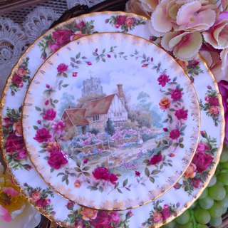British bone china Royal Alcatel Royal Albert 22k gold-plated country rose summer cake plate