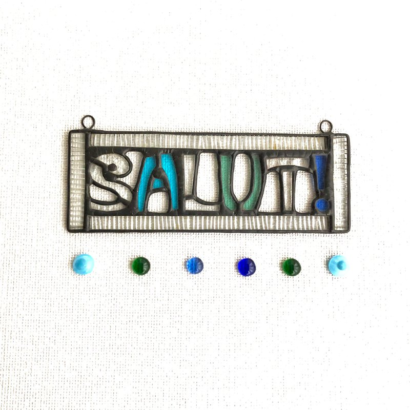 Stained glass sign plate SALUT! Light blue