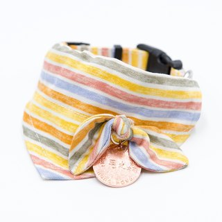 【Momoji】Pet Collar with Scarf - Rainbow