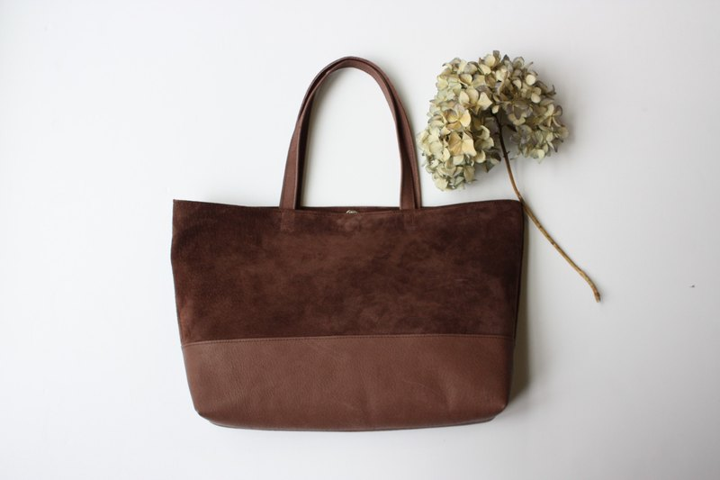[Made to order] Pigskin suede tote bag Chocolate
