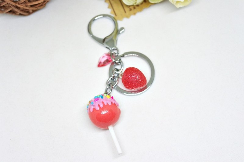➽ Clay Series - Key Ring & Strap Series - Strawberry Lollipop - ➪ Limit x1