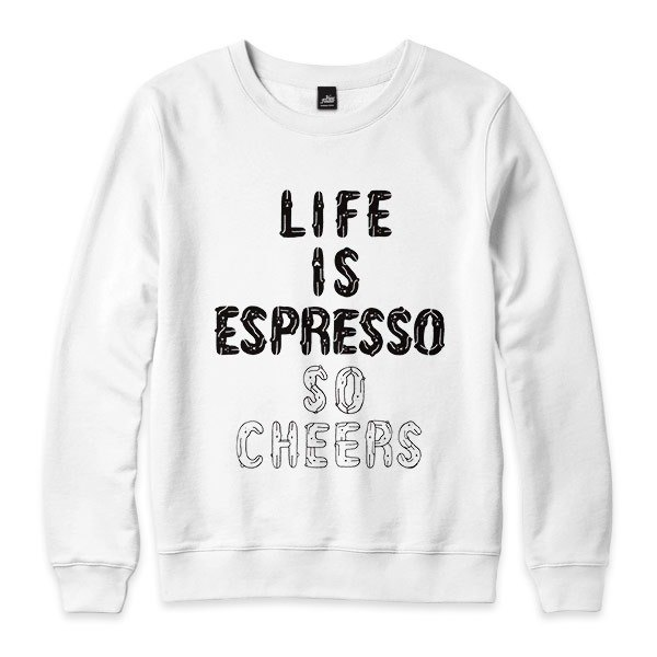 LIFE IS ESPRESSO SO CHEERS - 白 - 中性版大學T