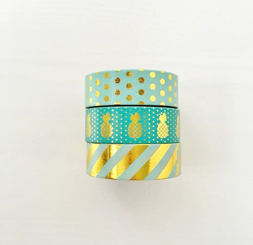 Set of 3 Mint Green Gold Foil Washi Tape