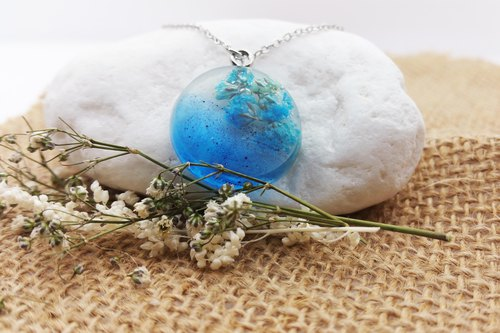 Ink Pendant Necklace Blue