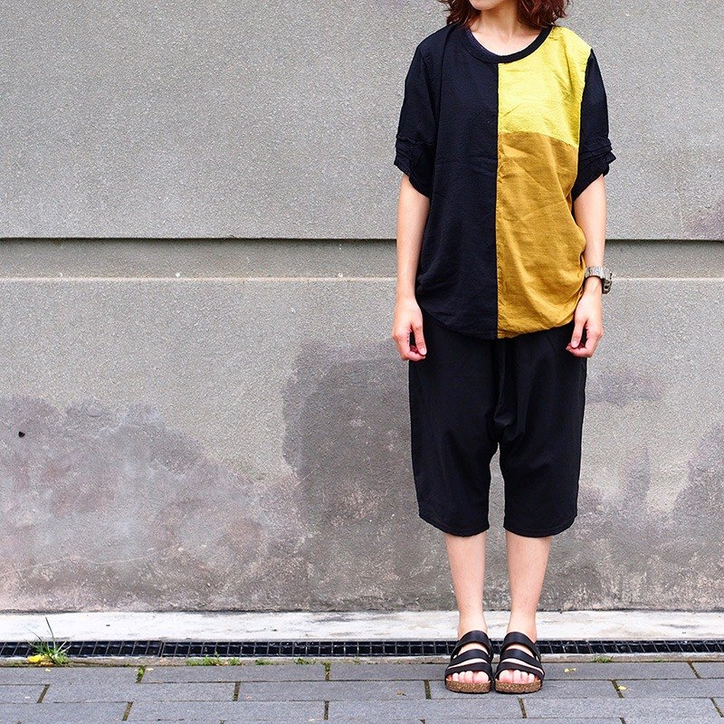 Calf Calf Village ├ original village not Zhuangshan ┤ natural wild loose cotton short-sleeved shirt yellow ocher loess {on} Limited