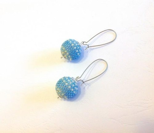 Glass ball earrings of sherbet color