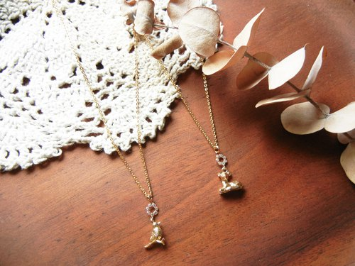 *coucoubird*Small Animal Gold Plated Chain - Bird/Fawn