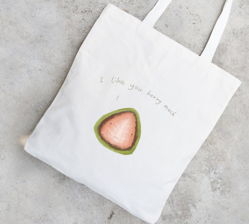 BirdddLand original hand-painted matcha strawberry illustration green bag I Like You Berry Much
