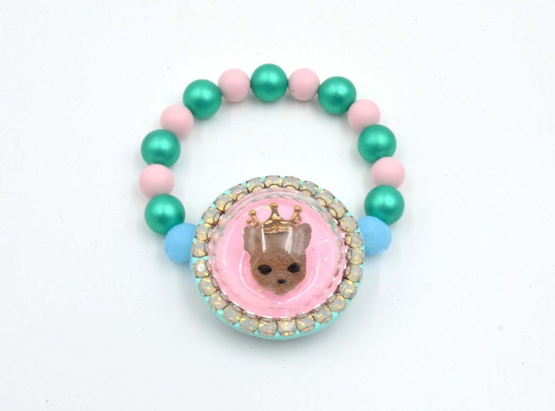 Pink glass cover cat round flash drill side rubber band bracelet around side Swarovski crystal decorative shell pearl