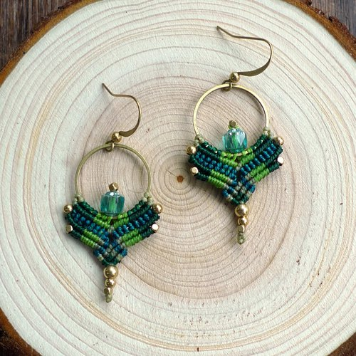 Misssheep-A52-National Wind South American Waxed Glass Beads Brass Bead Earrings (Turnable Ear Clips)