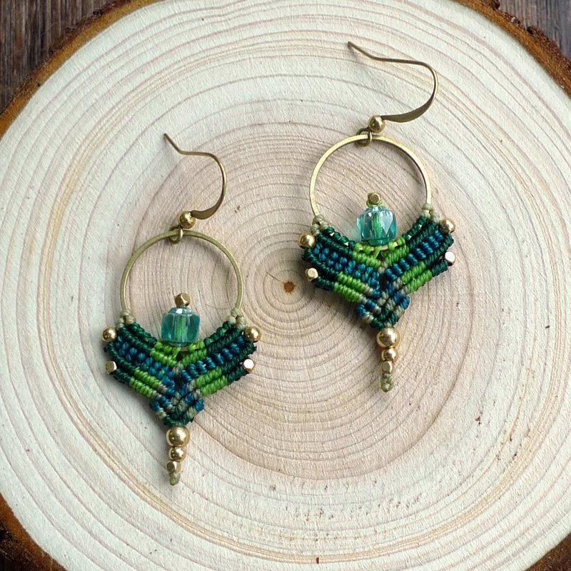 Misssheep A52 - macrame earrings, hoop earrings, macrame jewelry with glass bead