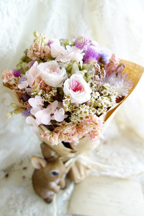Healing a small bouquet ~ ~ pink purple without mixing rose dry bouquet