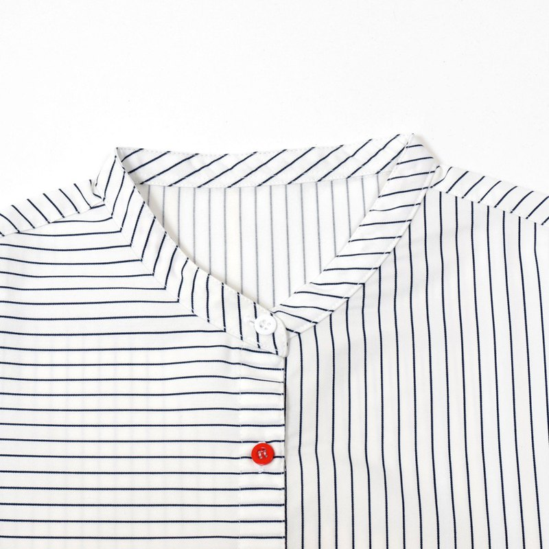 Notebook Doodle Small Stand Collar Shirt - Blue Stripe