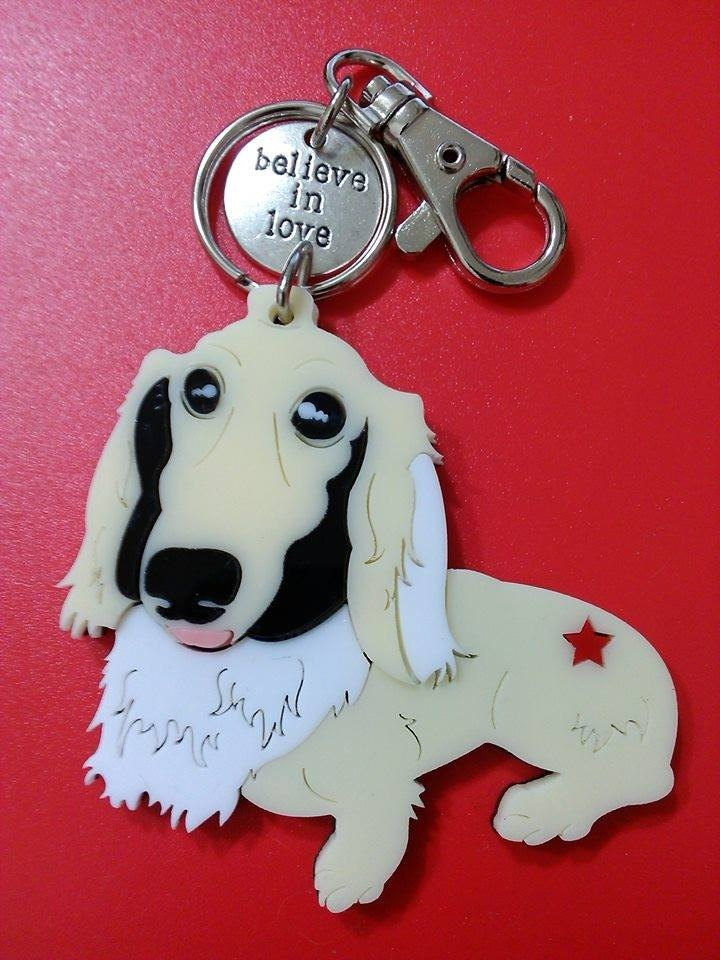 Customized, Lectra duck dog ♣ ♣ color (custom) Exclusive Boutique key ring / necklace Maltese [articles]